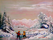 Kids Playing Hockey Paintings -  Beautiful Winter Fairytale by Carole Spandau