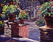Red Geraniums Painting Posters -  Bel-Air Gardens Poster by David Lloyd Glover