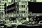 French Signs Art -  Bens Resto Delicatessan Lunchtime Crowds And Traffic Jams Vintage Montreal Memorabilia by Carole Spandau