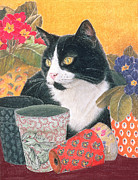 Cute Cat Pastels Prints -  Bhajii and Flowerpots Print by Judy Joel