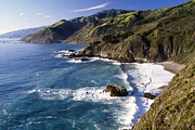 Hilly Framed Prints -  Big Sur at Big Creek Framed Print by George Oze
