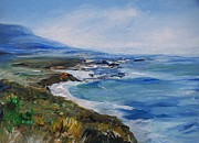 Atlantic Ocean Drawings Prints -  Big Sur Coastline Print by Eric  Schiabor