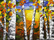 Handmade Trunk Posters -  Birch Trees In Fall Pallete Knife Painting Poster by Keith Webber Jr