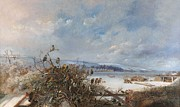 Snow Landscapes Paintings -  Birds of a Feather by  Charles Henry Clifford  Baldwyn