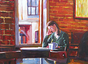 Coffee Paintings -  Bistro Student by David Lloyd Glover