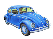 Punch Paintings -  Blue Volkswagon Beetle Painting by Keith Webber Jr