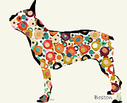 Canine Mixed Media Prints -  Boston Spot Print by Brian Buckley