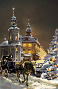 City Night Scene Paintings -  Buggy and horse at Christmasn the Ukraine by Gina Femrite