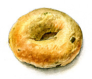 Breakfast Drawings Prints -  Cafe Steves Jalapeno Cheddar Bagel Print by Logan Parsons