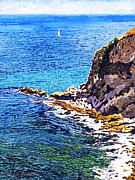 Sailboat Ocean Paintings -  California Coastline  by  David Lloyd Glover