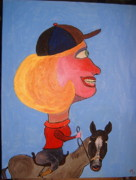 Caricature Painting Framed Prints -  Camilla Duchess of Cornwall Horsey Lady Framed Print by Peter Saville-Bradshaw