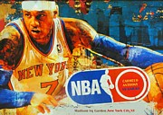 Sport Illustrations Mixed Media Framed Prints -  CARMELO ANTHONY - MELO - NY Knicks Framed Print by Dan Haraga