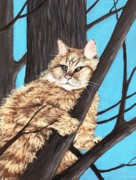 Outdoor Pastels Posters -  Cat on a Tree Poster by Anastasiya Malakhova