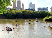 Boaters Prints -  Central Park Boaters Print by Ed Weidman