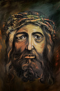 Jesus Christ Icon Framed Prints -  Christ with thorn crown. Framed Print by Andrzej  Szczerski