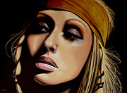 Pop Singer Painting Prints -  Christina Aguilera Print by Paul  Meijering