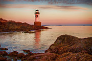 New England Lighthouse Digital Art Prints -  Christmas at Fort Pickering Lighthouse Print by Jeff Folger