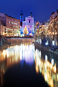 Emona Framed Prints -  Christmas decorated  Ljubljana Town Framed Print by La di  Kirn