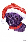 Color Pencils Prints -  Christmas Dog Print by Annie Zeno