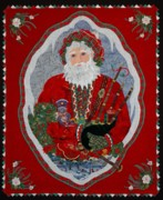 Greeting Cards Tapestries - Textiles Prints -  Christmas/ Piper  Print by Kathy McNeil