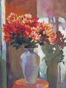 Romantic Floral Posters -  Chrysanthemums In Vase Poster by David Lloyd Glover
