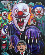 Haunted House Mixed Media Originals -  Clown running  white house by Ottoniel Lima