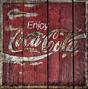 Coke Black Posters -  Coca Cola Sign Barn Wood Poster by John Stephens