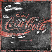 Coke Black Posters -  Coca Cola Sign Faded Grunge Poster by John Stephens