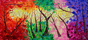 Colorful Mystical Forest Print by Julia Apostolova