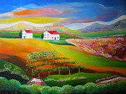 Tuscan Hills Framed Prints -  Colorful Tuscany Dream - Original painting on Fredrix Archival Belgian Linen Paint Board Framed Print by Louisa Bryant
