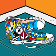 Comics Shoes Print by Mark Ashkenazi