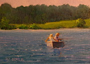 Sporting Art Prints -  Couple Fishing in a Boat Print by Patrick ODriscoll