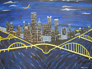 Ohio River Painting Posters -  Crescent Over Pittsburgh  Poster by Jeffrey Koss