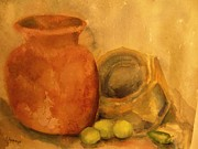 Water Vessels Paintings -   Crock  Pots by Beth Arroyo