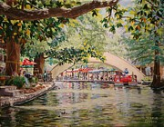 Riverwalk Paintings -  Cruising on the River -Riverwalk by Terrie Leyton