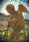 Greek Sculpture Prints -  Cupid Playing with a Butterfly - Louvre Museum Paris Print by Marianna Mills