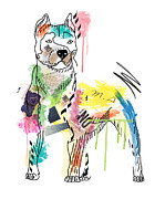 Dog Pop Art Digital Art -  Cute Pit Bull by Mark Ashkenazi