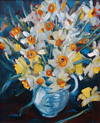 Flower Arrangement Paintings -  Daffs by Gloria Wallington