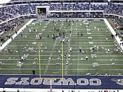 Football Fans Prints -   Dallas Cowboys and Raiders Pregame Warm Up Print by Donna Wilson