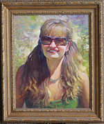 Portraits Oil Framed Prints -  Desert Sun Maiden Framed Print by Ernest Principato