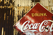 Coca-cola Signs Metal Prints -  Drink Coca Cola  Memorbelia Metal Print by Bob Christopher