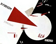 Troops Drawings Prints -  Drive red wedges in white troops 1920 Print by Lazar Lissitzky