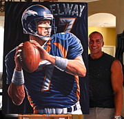 Denver Broncos Paintings -  Elway Original  For Sale   by Sports Art World Wide John Prince