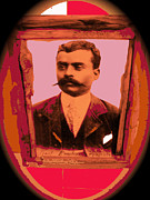Emiliano Zapata Framed Prints -  Emiliano Zapata collage vignetted color added 2008 Framed Print by David Lee Guss