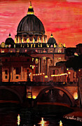 Night Angel Paintings -  Eternal City  Rome St Peter Vatican at Dusk by M Bleichner