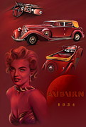 Yellow Digital Art Originals -  Exclusive  Auburn 1934  by Andrzej  Szczerski
