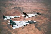 Iraq Prints Posters -  F-14A Tomcat aircraft fly in formation Poster by Amy Denson