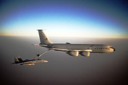 Iraq Prints Prints -  F-15C Eagle aircraft refuels from a KC-135R Stratotanker aircra Print by Amy Denson
