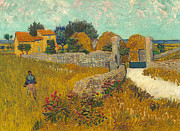 Field Of Crops Prints -  Farmhouse in Provence Print by Vincent van Gogh