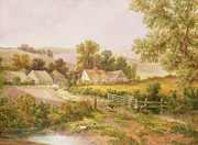 Green Hill Farm Posters -  Farmyard scene Poster by C L Boes